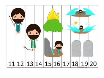 Moses 11-20 Sequence Puzzle. Preschool Bible History Curriculum Studies. Math