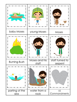 Moses 3 Part Matching Game. Preschool Bible History Curriculum Studies. Math gam