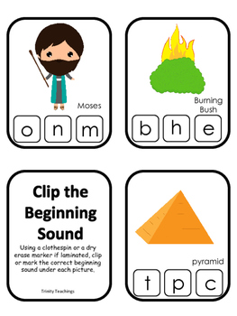 Moses Beginning Sounds Clip It Game. Preschool Bible Histo