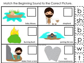 Moses Beginning Sounds Game. Preschool Bible History Curriculum Studies. Literac