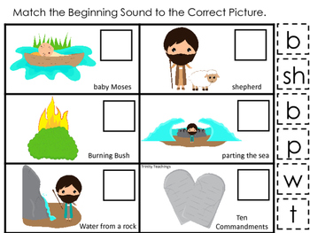 Moses Beginning Sounds Game. Preschool Bible History Curri