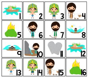 Moses Calendar pieces. Preschool-KDG Bible bulletin board.