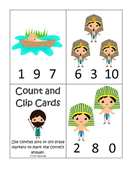 Moses Count and Clip Card Game. Preschool Bible History Curriculum Studies. Math