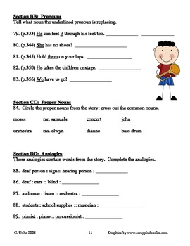 Moses Goes to a Concert ~ Isaac Millman ~ Language Arts Workbook