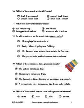 Moses Goes to a Concert Language Arts Quiz/Test ~ Houghton Mifflin®