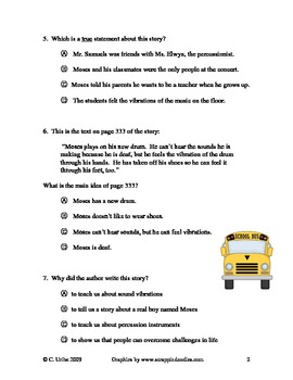 Moses Goes to a Concert Reading Comprehension Test/Quiz ~ 2nd Grade
