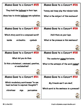 Moses Goes to a Concert ~ Scoot Game ~ Language Arts ~ Task Cards