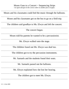 Moses Goes to a Concert Story Sequence Strips ~ Houghton Mifflin®