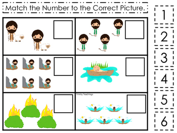 Moses Match the Number Game. Preschool Bible History Curriculum Studies. Math ga