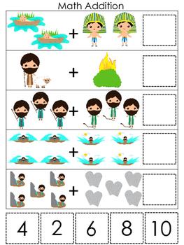 Moses Math Addition Game. Preschool Bible History Curriculum Studies. Christian