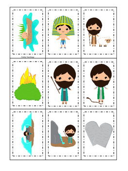 Moses Memory Match Game. Preschool Bible History Curriculum Studies. Christian C