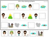 Moses Missing Pattern Game. Preschool Bible History Curriculum Studies. Math gam