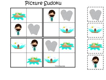 Moses Picture Sudoku Game. Preschool Bible History Curriculum Studies. Math prin
