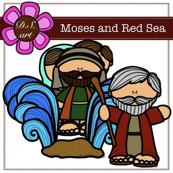 Moses and Red Sea Digital Clipart (color and black&white)