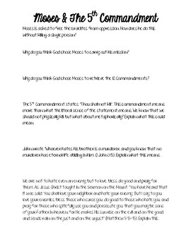 Moses and the 5th Commandment Questions Worksheet