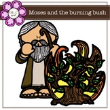 Moses and the burning bush digital Clipart (color and black&white)