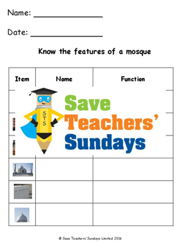 Mosques Lesson plan, PowerPoint, Activity / Game and Worksheets