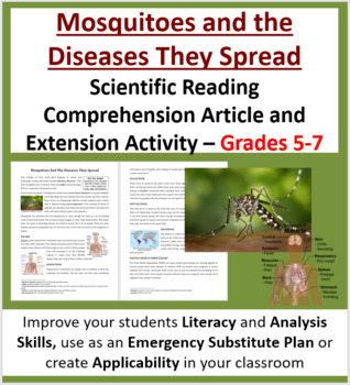 Mosquitoes And The Diseases They Spread - Science Reading Article - Grades 5-7