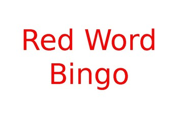 Most 100 Used Words - Red Bingo