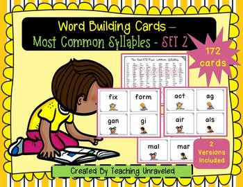 Most Common Syllables - Word Building Cards Set 2