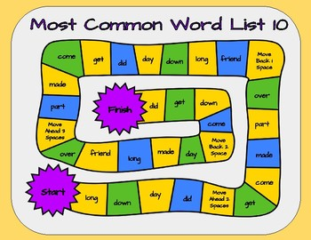 Most Common Word List 10 Board Game - Reading Horizons Accessory