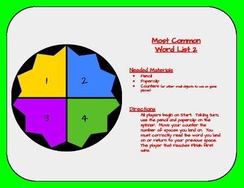 Most Common Word List 11 Board Game - Reading Horizons Accessory