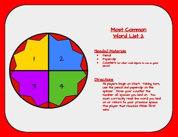 Most Common Word List 2 Board Game - Reading Horizons Accessory