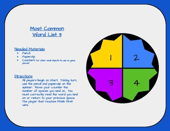 Most Common Word List 3 Board Game - Reading Horizons Accessory