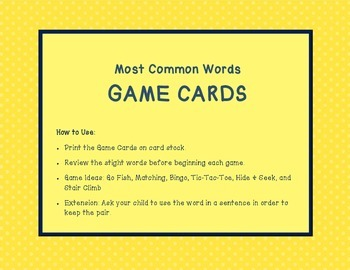 Most Common Words Lists: Game Cards Lists 1-3 ~ Reading Horizons Companion