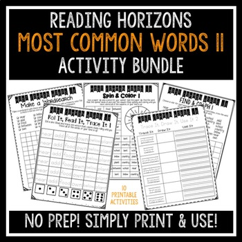 Most Common Words 11 Activities - Reading Horizons