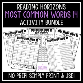 Most Common Words 14 Activities - Reading Horizons