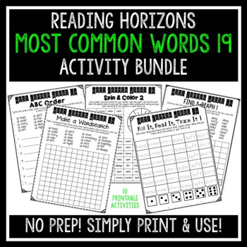 Most Common Words 19 Activities - Reading Horizons