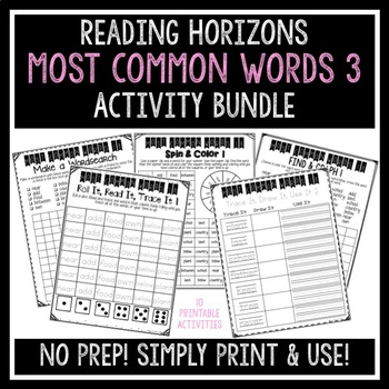 Most Common Words 3 Activities - Reading Horizons