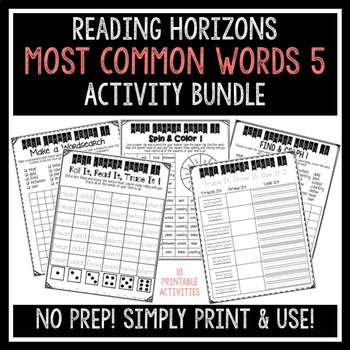 Most Common Words 5 Activities - Reading Horizons