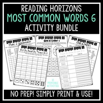 Most Common Words 6 Activities - Reading Horizons