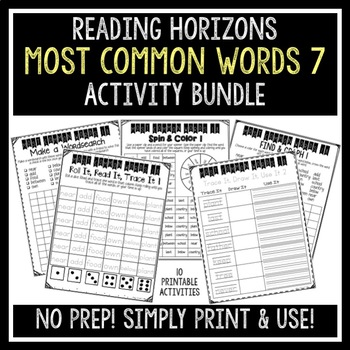 Most Common Words 7 Activities - Reading Horizons