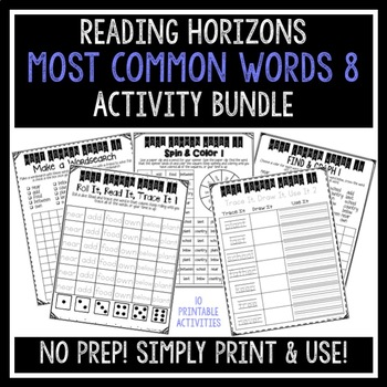 Most Common Words 8 Activities - Reading Horizons
