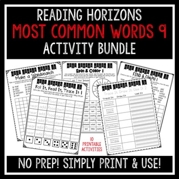 Most Common Words 9 Activities - Reading Horizons