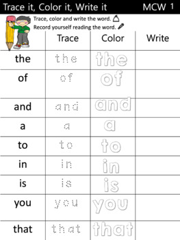 Most Common Words: A Reading Horizons Supplemental Activity Trace, Color, Write