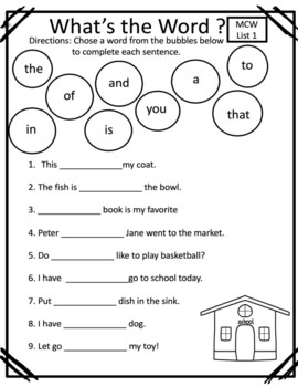Most Common Words: A Reading Horizons Supplemental Activity What's the Word