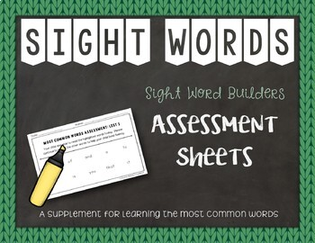 Most Common Words Lists: Assessment Sheets ~ Reading Horiz