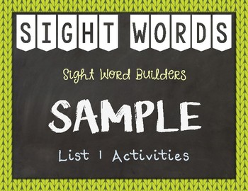 Most Common Words Lists: List 1 Activities