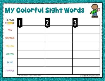 Most Common Words Lists: Rainbow Write ~ Reading Horizons Companion