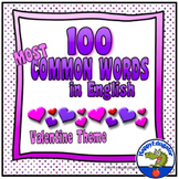 Valentines Day Sight Words - 100 Most Common Words in English Hearts Theme