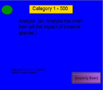 Most Commonly Used Test Verbs - Smartboard Jeopardy