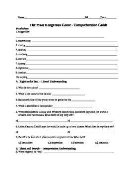 Most Dangerous Game 3-Level Comprehension Worksheet, Guide, and Analysis