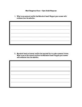 Most Dangerous Game Open Response question boxes