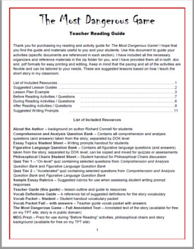 Most Dangerous Game Reading and Activity Guide