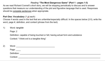 Most Dangerous Game Vocabulary and Reading Questions