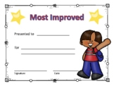 Most Improved Award Certificate Boy